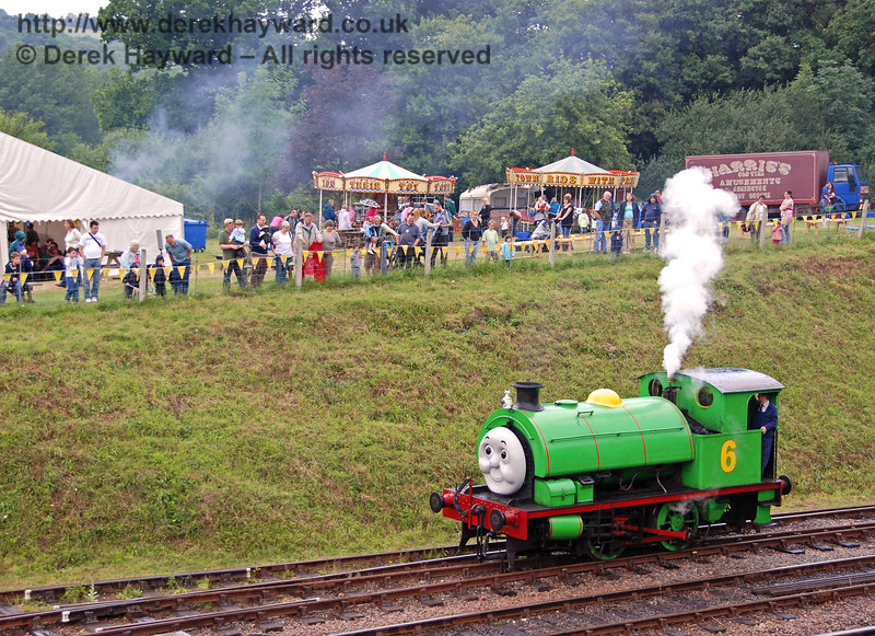 Percy whistles to make sure the crowd are watching him shunt the Troublesome Trucks. Horsted Keynes 23.06.2007