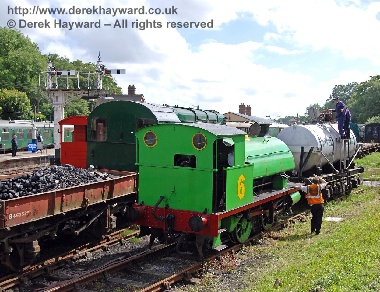 Percy was entertaining everyone at Horsted Keynes all day so he needed something to eat and drink. Diesel had brought some coal in the truck, and some water was hidden in the milk tanker.  Very clever! 01.07.2007