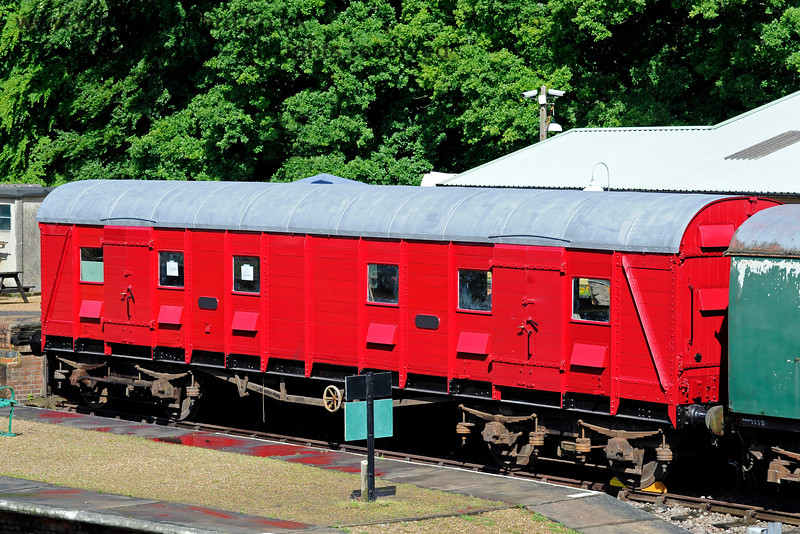 S4601S, British Railways (Southern Region) Bogie Scenery Van, in the dock at Horsted Keynes with refurbishment in progress. 25.06.2016 13460