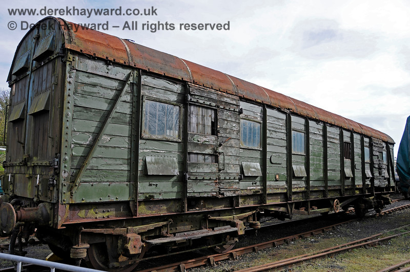 "S4601S, British Railways (Southern Region) Bogie Scenery Van (with strengthened floor for Elephant traffic), commonly known as the ""Elephant Van"" at Horsted Keynes in tired condition before restoration. 17.04.2015 12226"