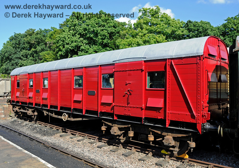 S4601S, British Railways (Southern Region) Bogie Scenery Van, in the dock at Horsted Keynes under refurbishment. 06.08.2016 15932