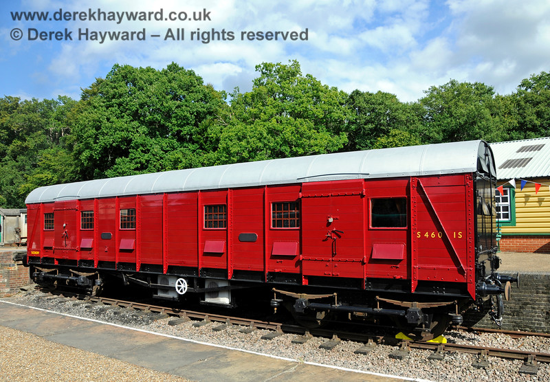 "S4601S, British Railways (Southern Region) Bogie Scenery Van, commonly known as the ""Elephant Van"", in the dock at Horsted Keynes a couple of days before it was opened for public access as the Children's Play Carriage.  06.08.2017 17618"