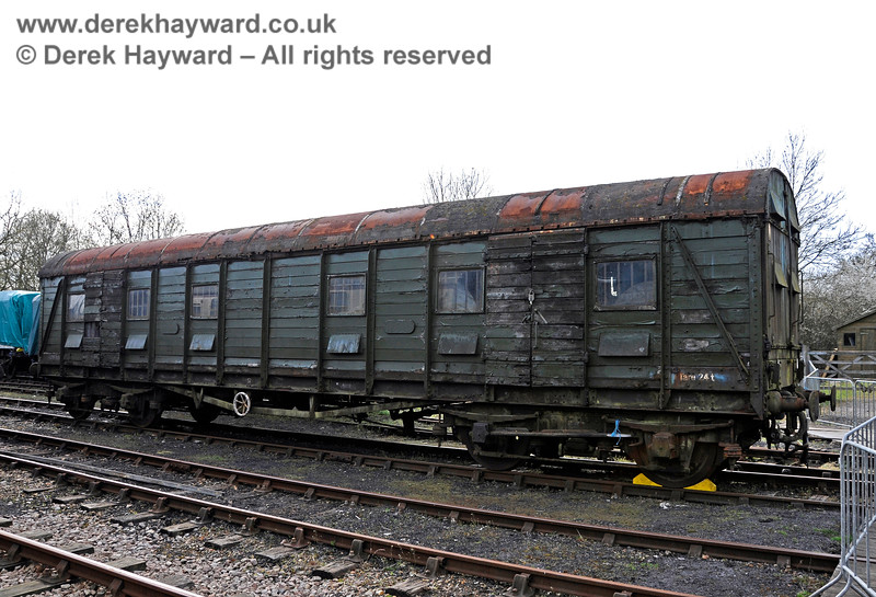 "S4601S, British Railways (Southern Region) Bogie Scenery Van (with strengthened floor for Elephant traffic), commonly known as the ""Elephant Van"", at Horsted Keynes in tired condition before restoration. 17.04.2015 12224"