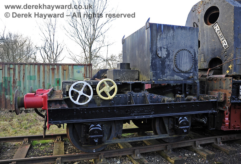 The Ransomes and Rapier Ltd Steam Crane, with some refurbishment and repainting having taken place.   Horsted Keynes 08.12.2012  5973