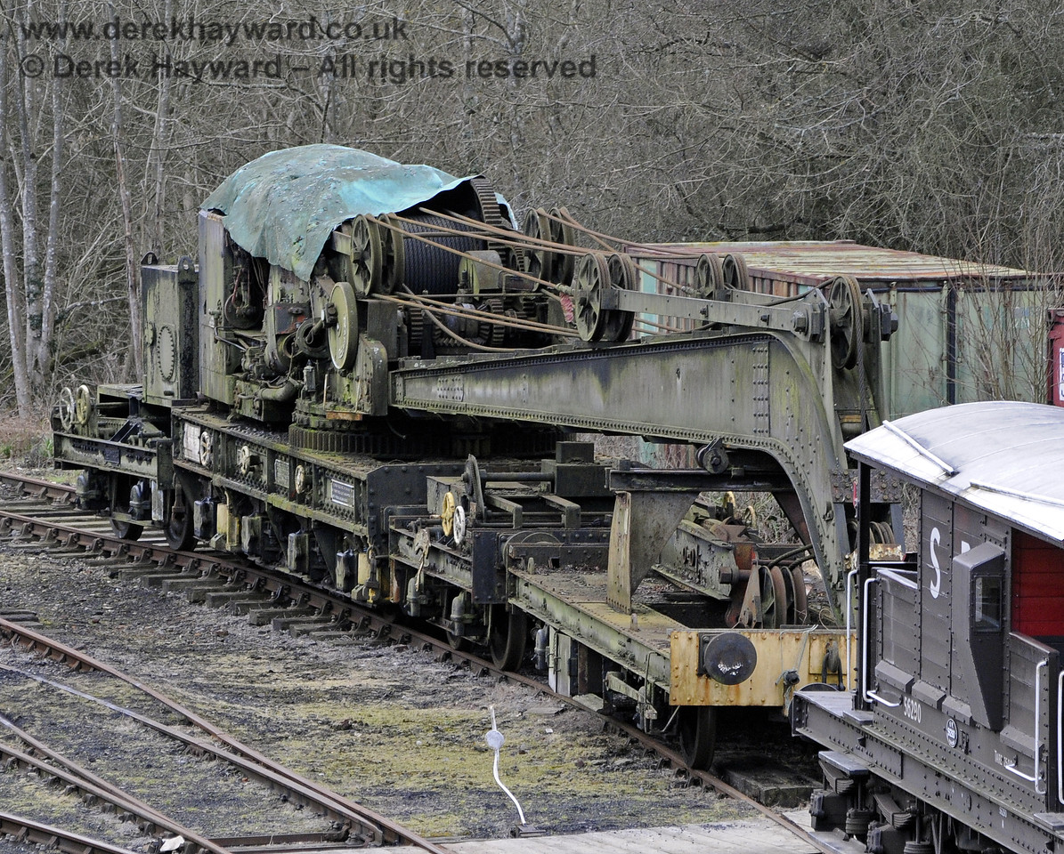 The Ransomes and Rapier Ltd Steam Crane, photographed on the day it was moved to Horsted Keynes for refurbishment.  21.02.2012  7679
