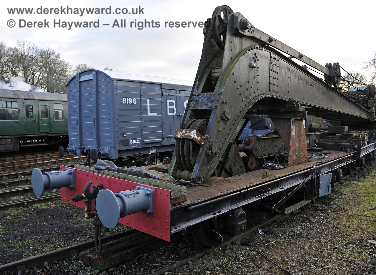 The Ransomes and Rapier Ltd Steam Crane, with some refurbishment and repainting having taken place.  Horsted Keynes 08.12.2012  5969