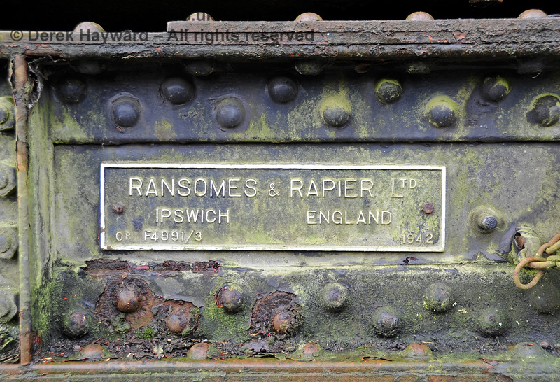 The Ransomes and Rapier Ltd Steam Crane, photographed on the day it was moved to Horsted Keynes for refurbishment.  21.02.2012 3693