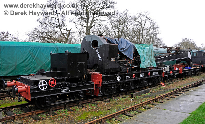 The Ransomes and Rapier Ltd Steam Crane at Horsted Keynes with cosmetic restoration in progress. 12.12.2015 14081