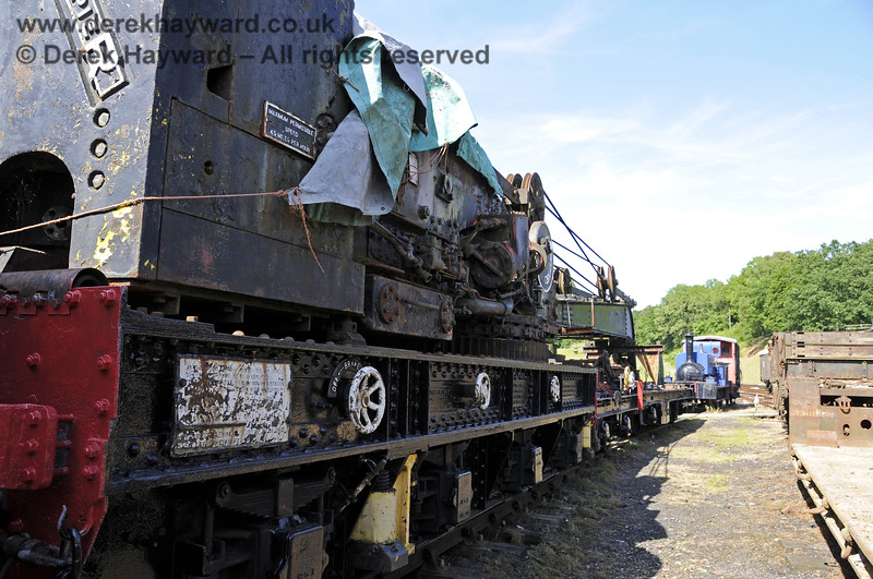 Taken in rather restricted space, the Ransomes and Rapier Ltd Steam Crane, with some refurbishment and repainting having taken place.   Horsted Keynes  30.06.2013  9367