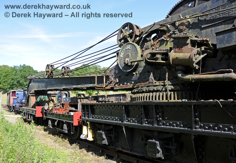 Taken in rather restricted space, the Ransomes and Rapier Ltd Steam Crane, with some refurbishment and repainting having taken place.   Horsted Keynes  30.06.2013  9363
