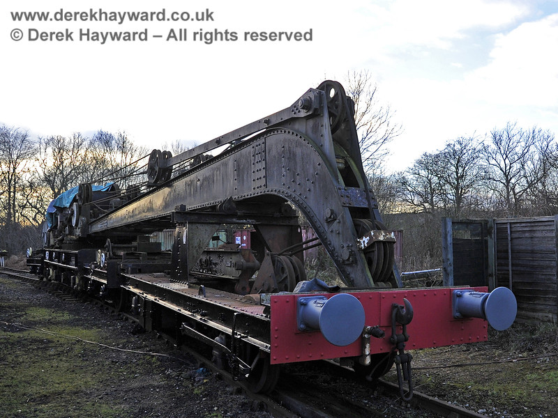 The Ransomes and Rapier Ltd Steam Crane, with some refurbishment and repainting having taken place.   Horsted Keynes 08.12.2012  5971