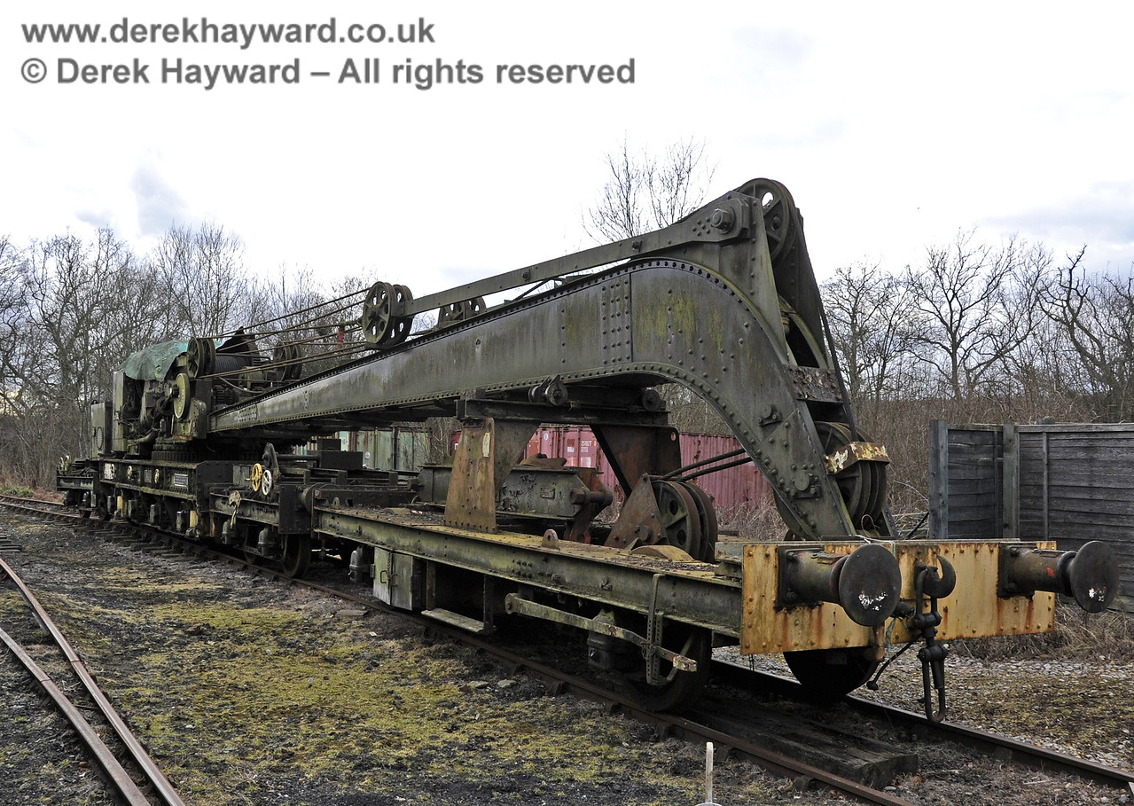 The Ransomes and Rapier Ltd Steam Crane, photographed on the day it was moved to Horsted Keynes for refurbishment.  21.02.2012  3690