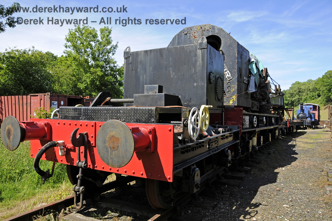 Taken in rather restricted space, the Ransomes and Rapier Ltd Steam Crane, with some refurbishment and repainting having taken place.   Horsted Keynes  30.06.2013  9365