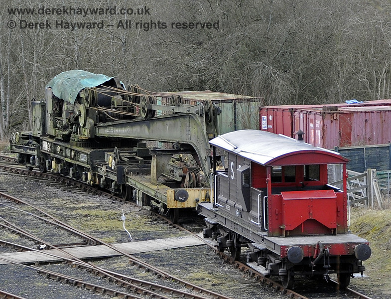 The Ransomes and Rapier Ltd Steam Crane, photographed on the day it was moved to Horsted Keynes for refurbishment.  21.02.2012 3672