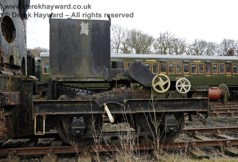 The Ransomes and Rapier Ltd Steam Crane, photographed on the day it was moved to Horsted Keynes for refurbishment.  21.02.2012  3708