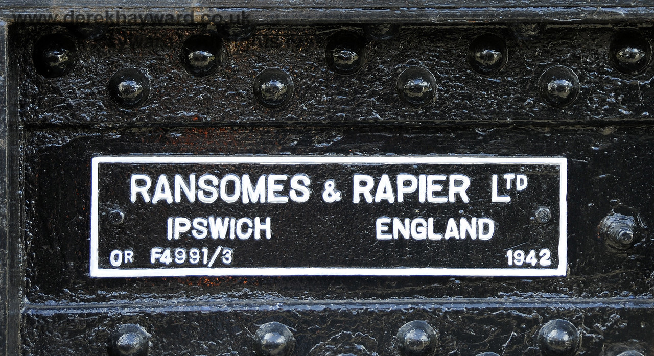 Refurbished plate on the Ransomes and Rapier Ltd Steam Crane,   Horsted Keynes  23.08.2014  11586