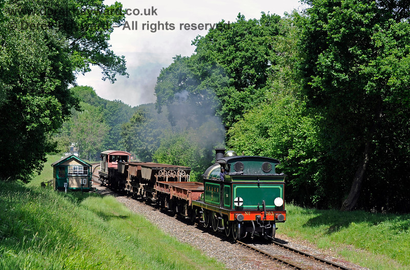 263 steams south from Kingscote with a PWay train. 01.06.2019 16981