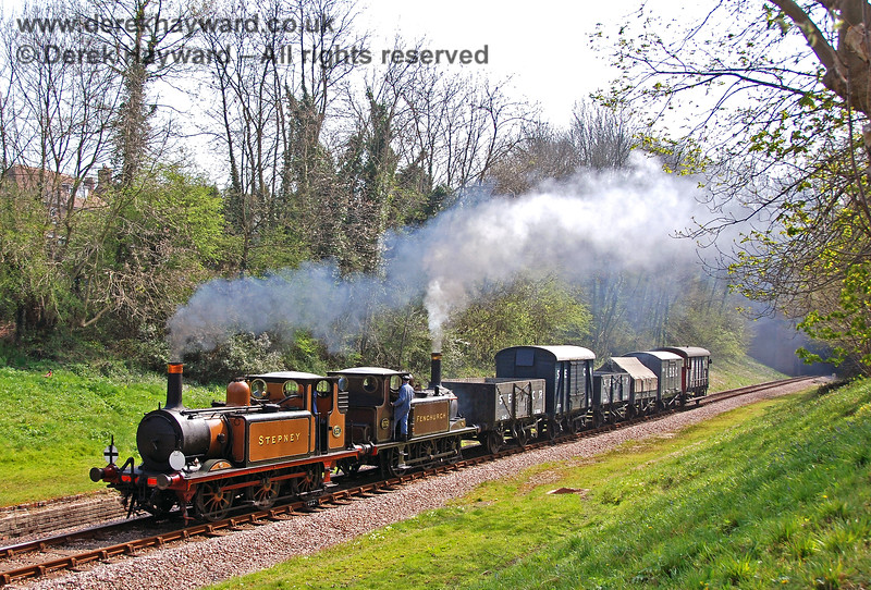 55 and 672 steam through the site of West Hoathly station. 14.04.2007
