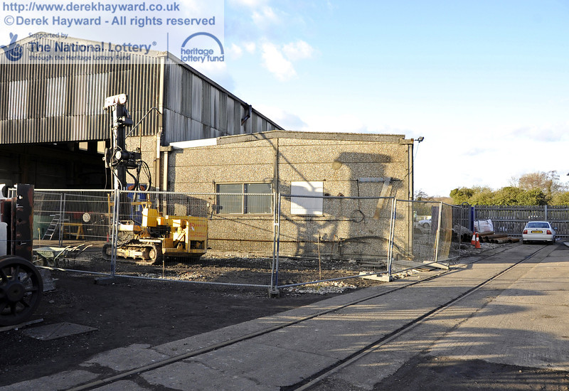 A machine is currently boring holes for piles outside the Workshops. 19.02.2012  3634