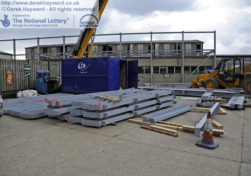 Some of the steel beams laid out ready for lifting.  03.04.2012  4173