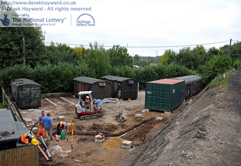 The new site with a proportion of the van bodies and containers in position. The trench was for a waste pipe. 10.09.2010  4764