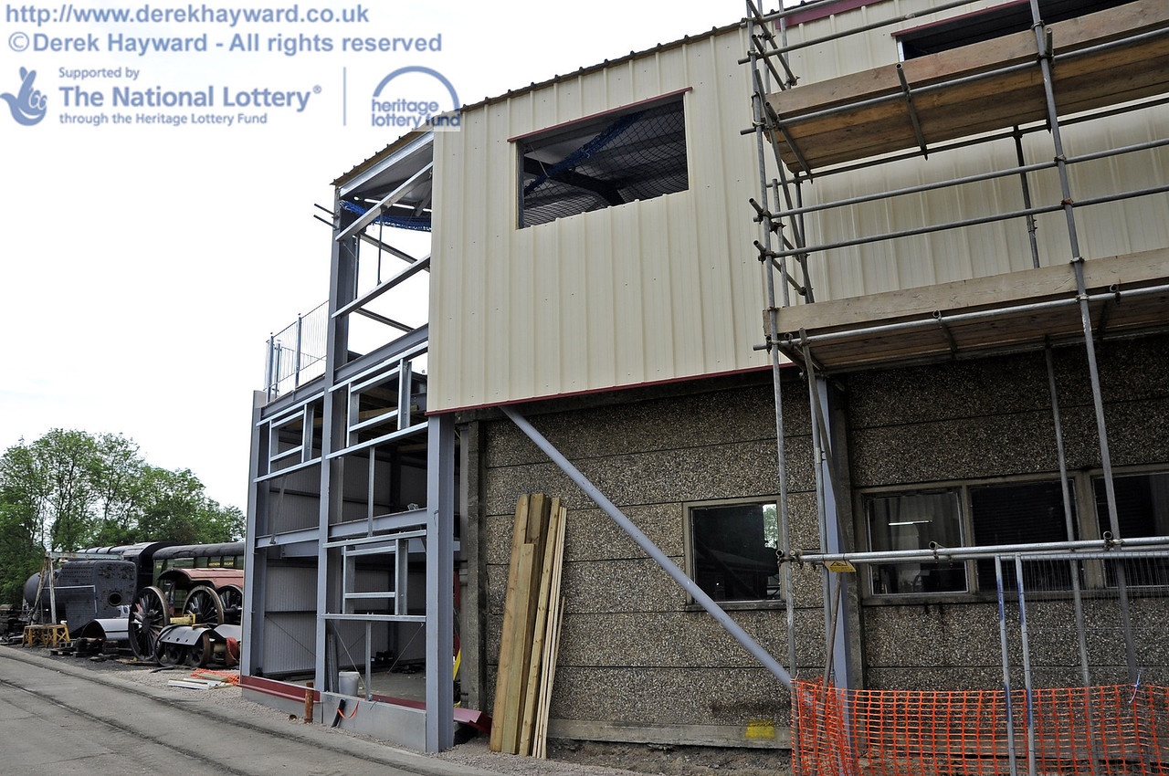 Looking west towards the southern extension with the installation of cladding and windows in progress.  30.05.2012  4949