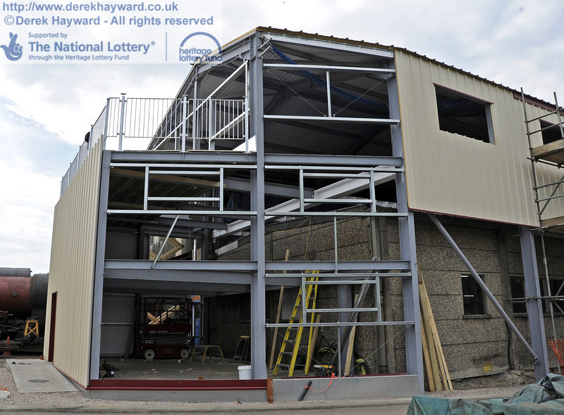 Looking west towards the southern extension with the installation of cladding and windows in progress.  30.05.2012  4947
