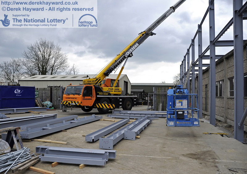 Some of the steel beams laid out ready for lifting.  03.04.2012  4185