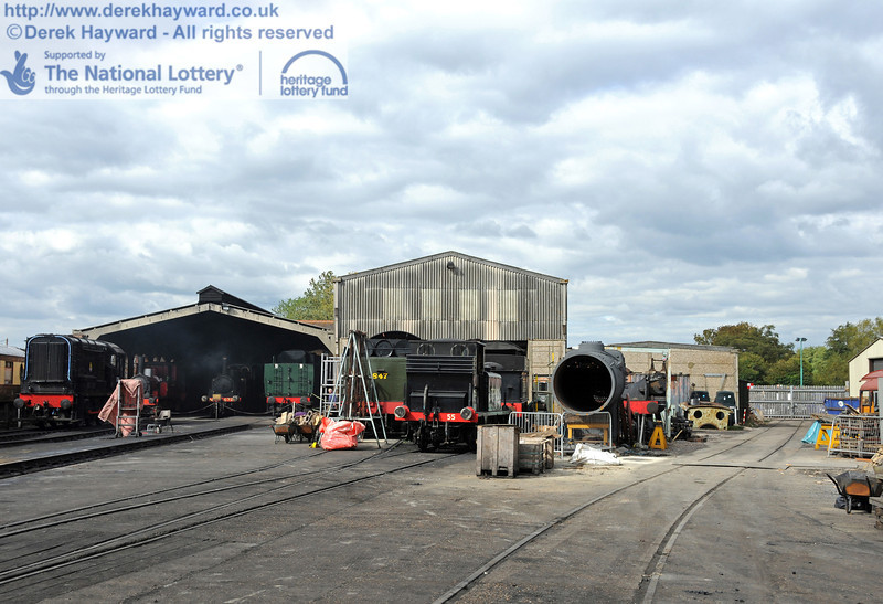Sheffield Park Shed and Workshops, looking north, photographed well before the planning application was submitted.  The first floor extension is to be built above the single storey building behind the boiler.  25.09.2010  4921