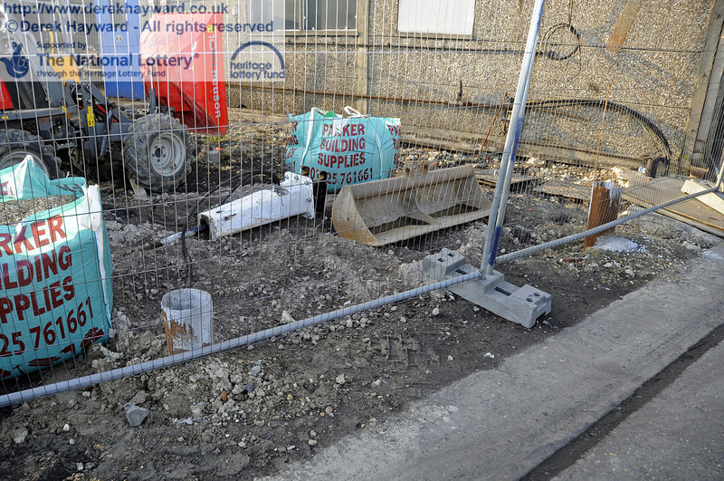 Part of the very compact work site south of the current Workshop building.  10.03.2012  3817