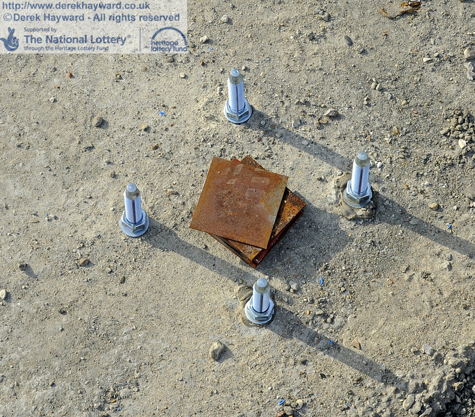 Bolts pre-inserted into the concrete foundations which are used to secure the steel to the foundations.  06.04.2012  4369