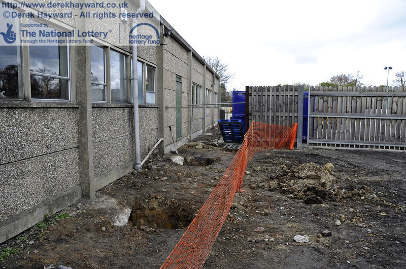 Ground works on the eastern side of the Workshops.  21.01.2012  3430