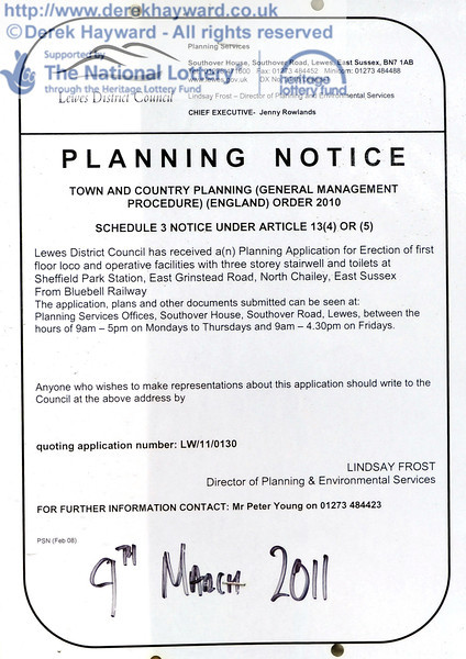 The planning notice displayed at Sheffield Park.  14.04.2011  0772