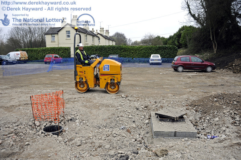 Work to reinstate the surface of the staff car park is continuing.  New drains are in the foreground.  17.03.2011  6516