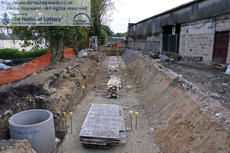 The concrete foundations and some of the drains for the locomotive wash out pit have now been installed. This view looks south. 22.10.2010  5269