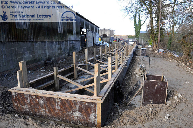 A second north facing view of the facility. The three drains for outgoing water have temporary shuttering in place. 18.01.2011  5531
