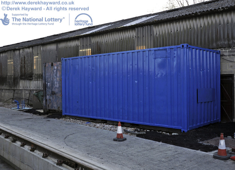 For those who remember it, this is the old grit blasting container, now repositioned and to be used for storage.  Some gentlemen had just finished painting it Bluebell Blue (what else).    10.03.2012  3801