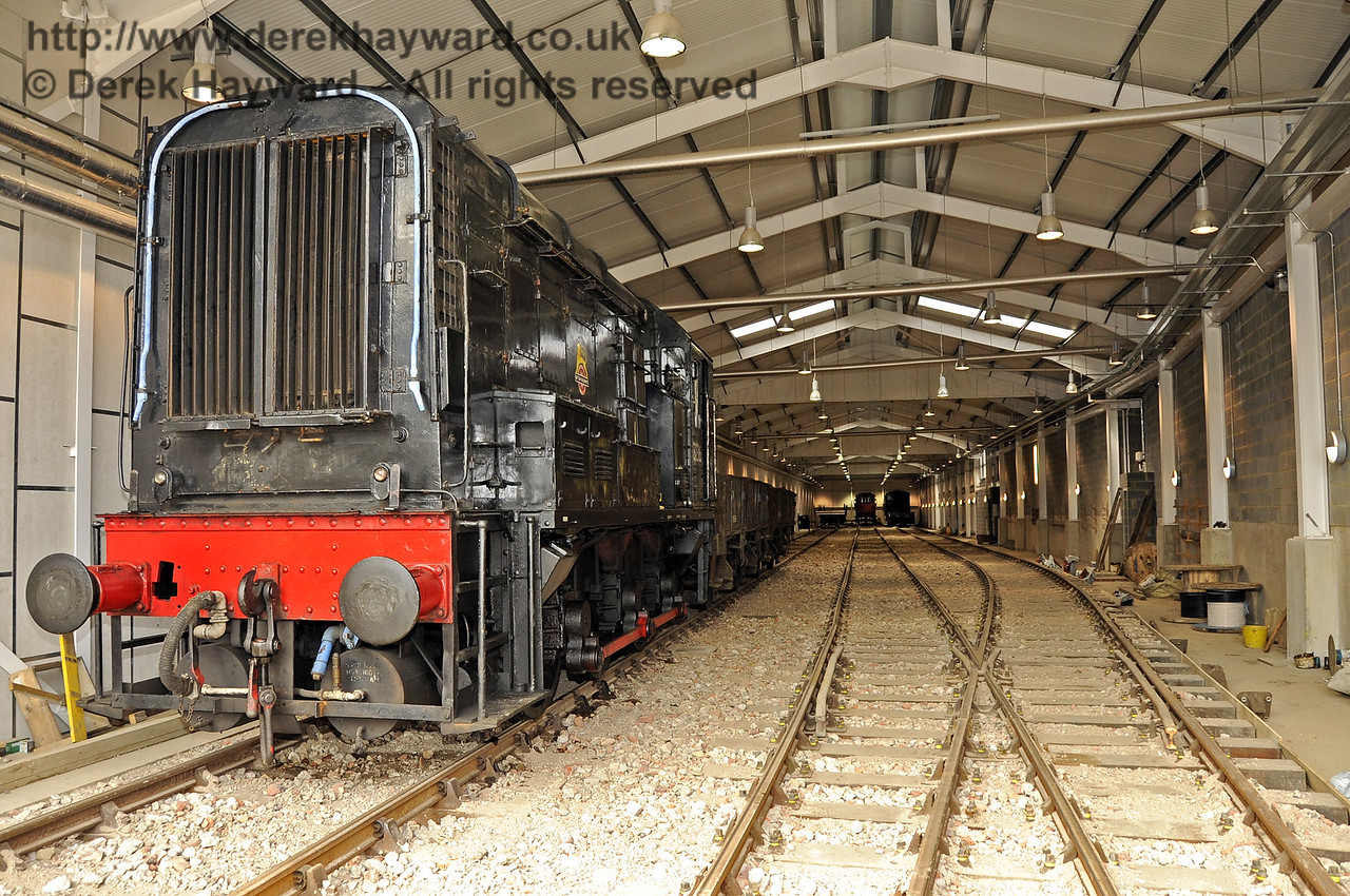 Looking north from the entrance of the Carriage Shed, with the 08 diesel shunter on the works train.  29.08.2011  2768