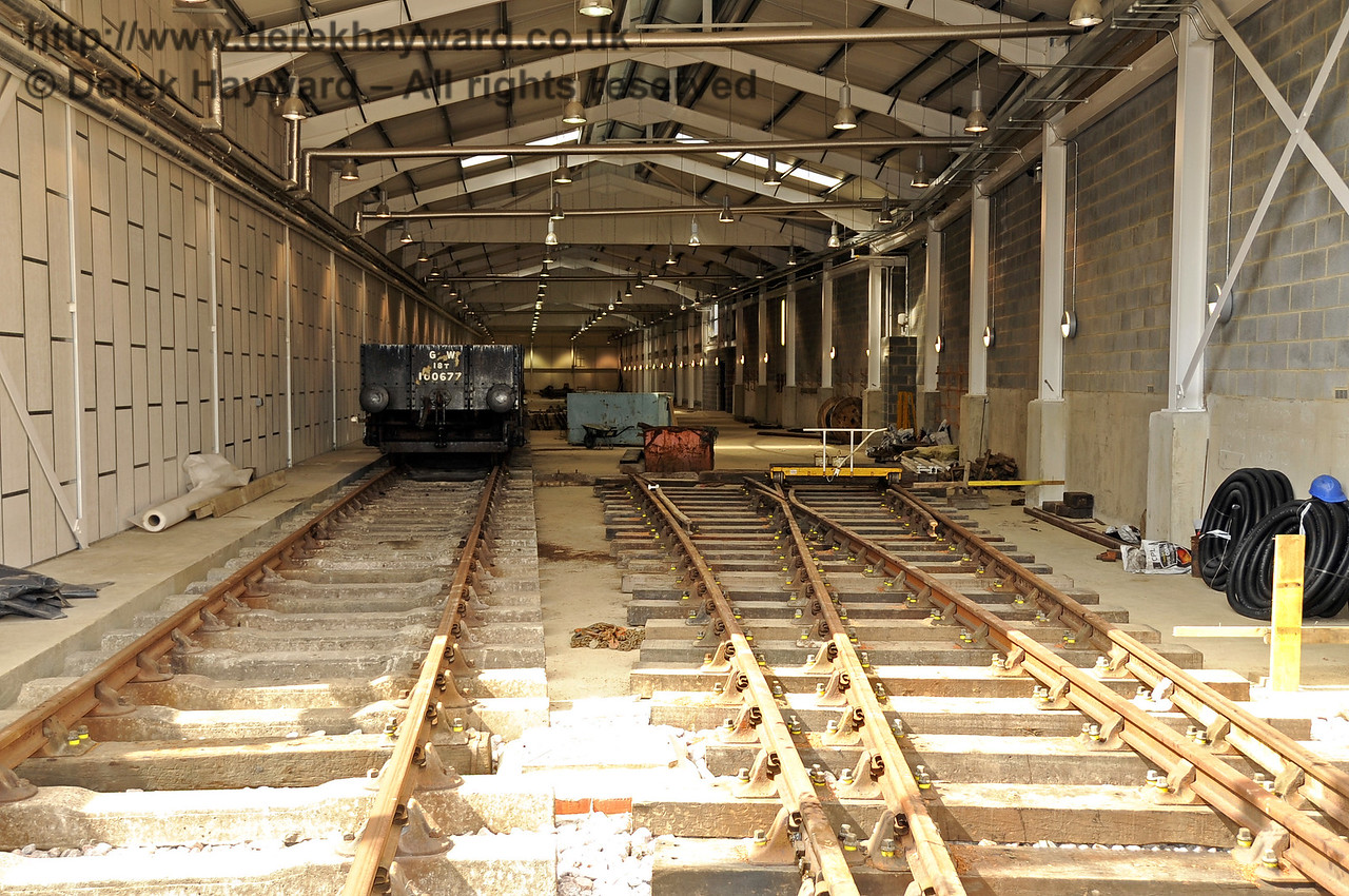Looking north into the Carriage Shed entrance as track laying progresses down the shed.  24.07.2011  2362