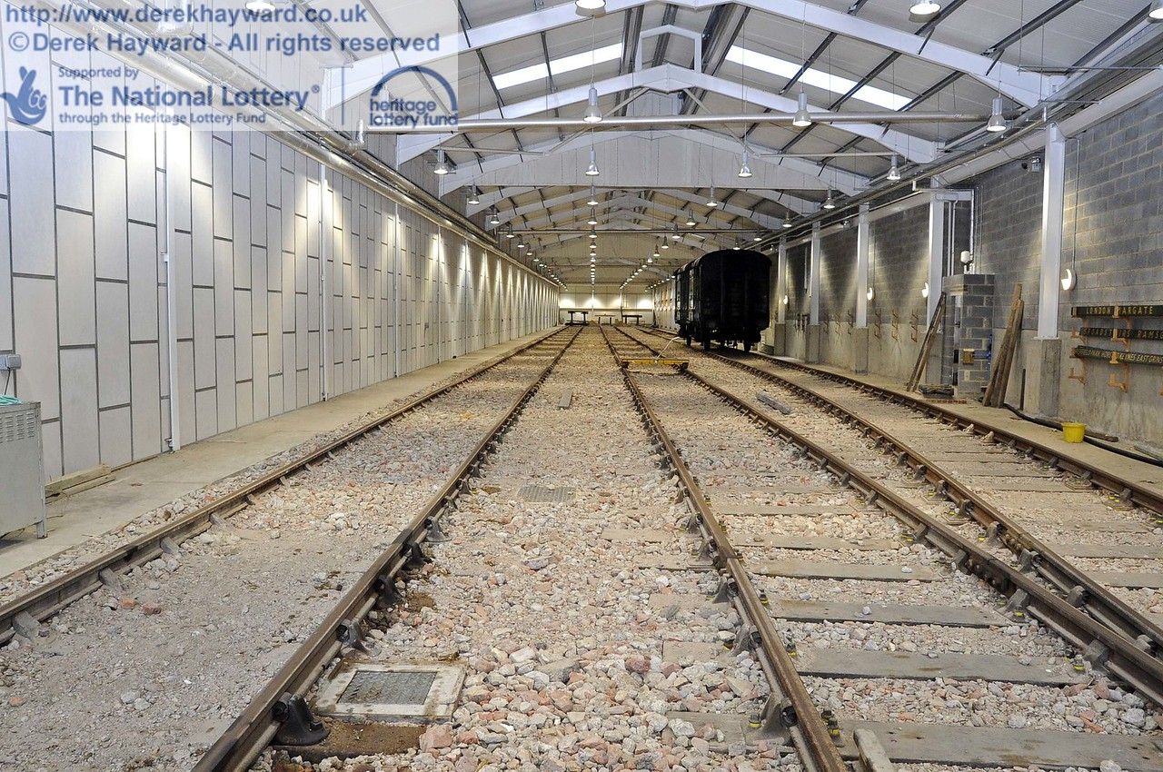 Looking north down the Carriage Shed from the entrance.  On the right trunking is being installed.  24.11.2011  3171