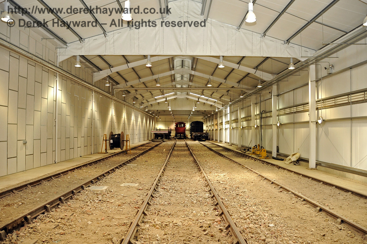 Looking north from the centre of the Carriage Shed, with the track and fill material in place.  29.08.2011  2761