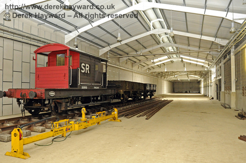 Inside the Carriage Shed with stock standing on what will be A road.  This view looks north.  03.07.2011  2090