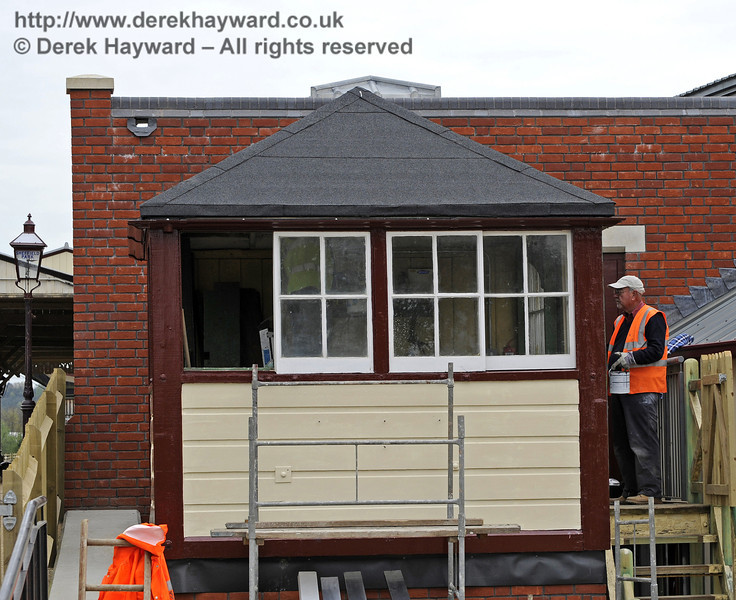 The Withyham signal box is being painted and general refurbishment carried out.  14.04.2011  0769