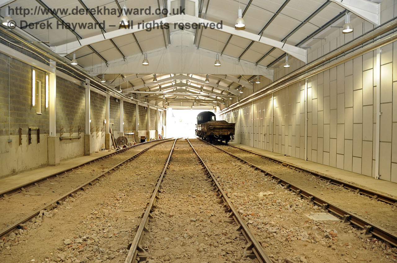 Looking south from the centre of the Carriage Shed, with the track and fill material in place.  29.08.2011  2762