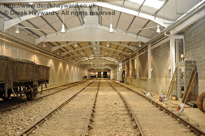 Looking north in the Carriage Shed.  The majority of the fill material has now been laid between the sleepers.  29.08.2011  2764
