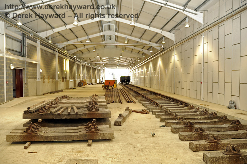 Looking south along the length of the Carriage Shed.  The track on the right will be A road.  24.07.2011  2355