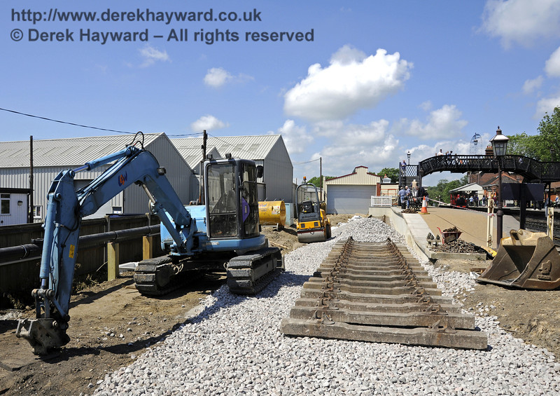 Looking north towards the Dock, with newly laid sleepers and plant in shot.  21.05.2011  7131