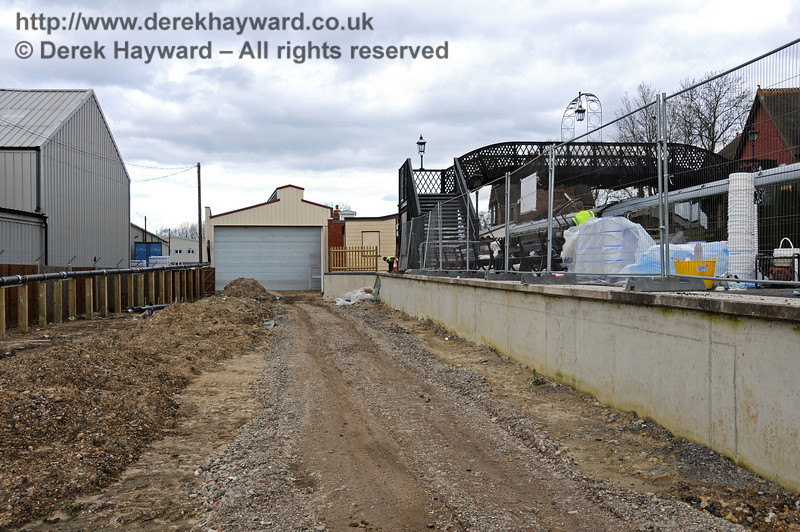 Looking north towards the Carriage Shed with the dock on the right and the area for track access to the shed on the left.  09.03.2011  6121