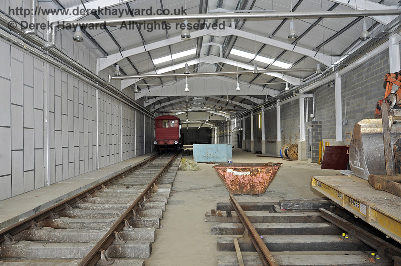 Looking north along the Carriage Shed with B road (the centre track) on the right.  03.07.2011  2076