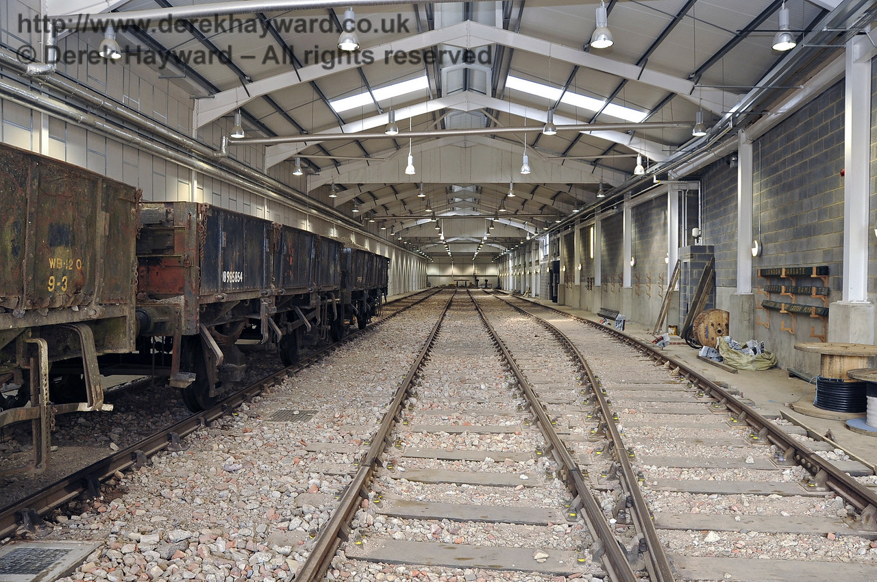 Looking north in the Carriage Shed with a works train on the left in A road.  29.09.2011  2870